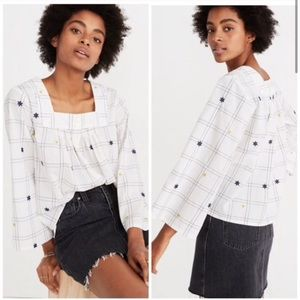 Madewell Floral Embroidered Blouse XS